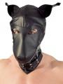 Psí maska s obojkem v imitaci černé kůže